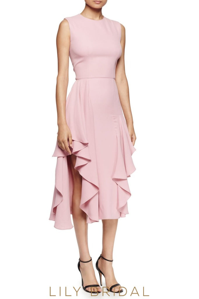 Dusty Rose Pink Jewel Neckline A-Line Sleeveless Tea Length Bridesmaid Dress