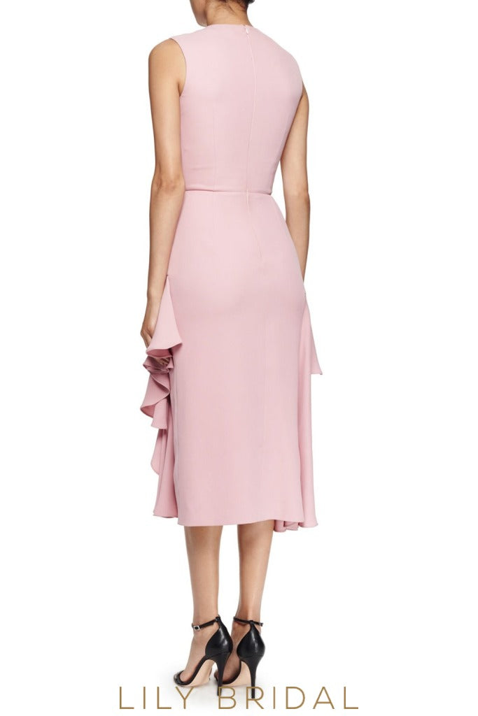 Dusty Rose Pink Jewel A-Line Sleeveless Tea Length Bridesmaid Dress