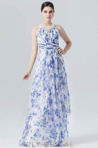 Round Neck Empire Waist Floral Print Asymmetrical Evening Dress