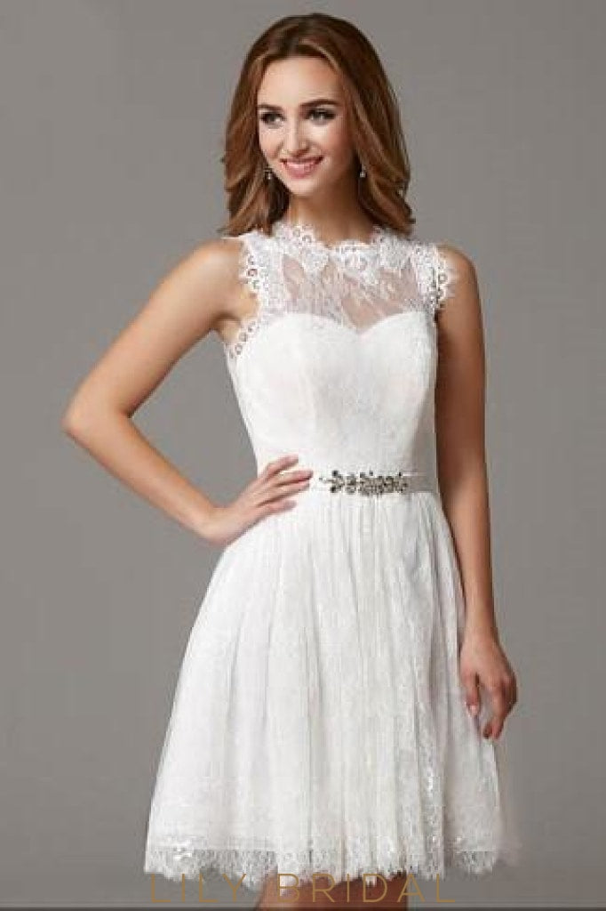 Round Neck Sleeveless Ivory Lace Cocktail Dress