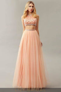 Round Neck Two-Piece Floor-Length Orange Tulle Prom Dress With Beads