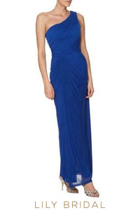 Royal Blue One-Shoulder Long Bridesmaid Dress With Ruching