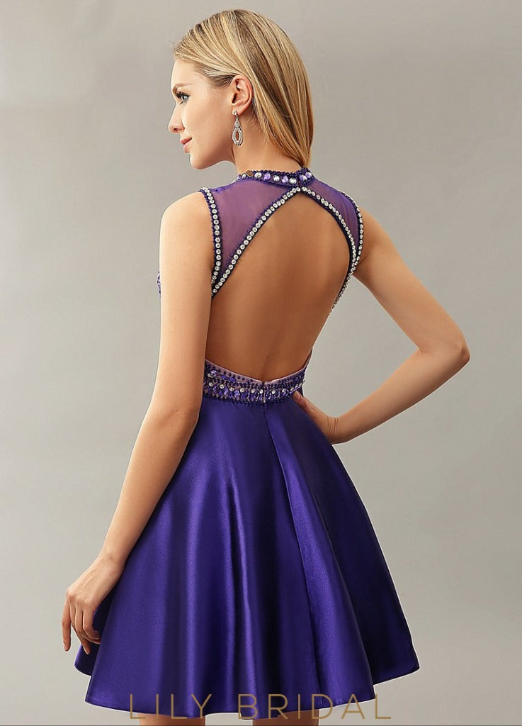 Satin High Neck Sleeveless A-Line Cocktail Dress With Rhinestone