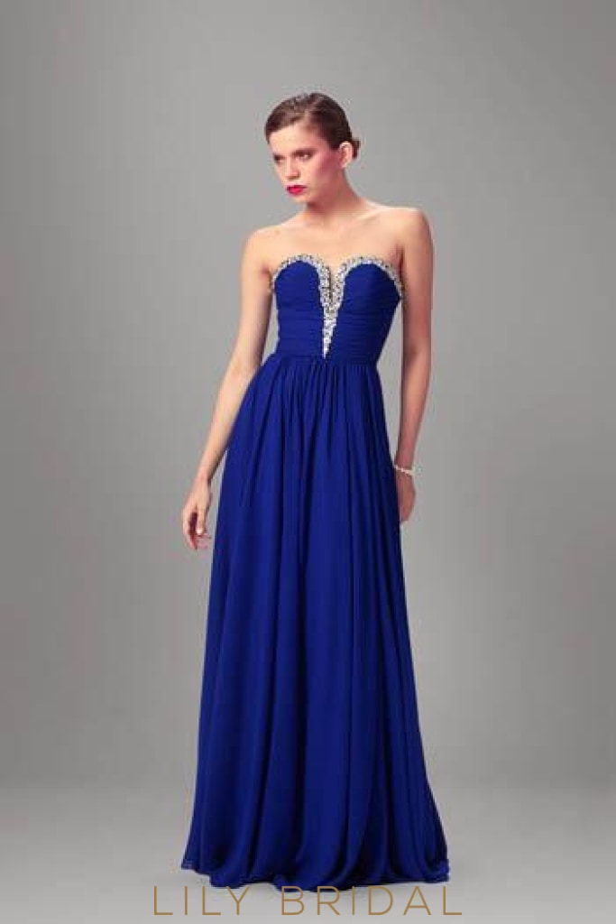 Royal Blue Sweetheart Strapless A-line Floor-Length Chiffon Formal Evening Dress With Beads