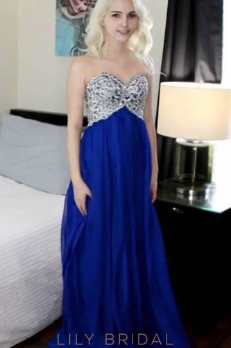Royal Blue Sweetheart Strapless A-Line Floor-Length Satin Prom Dress With Tulle Jacket