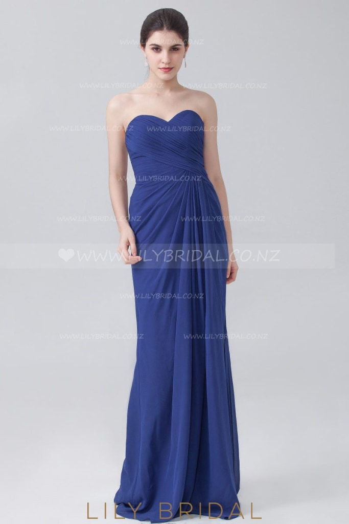 Royal Blue Sweetheart Strapless Chiffon Evening Dress With Ruching
