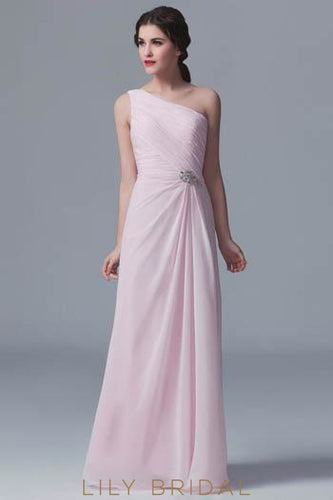 Ruched Chiffon One-Shoulder Bridesmaid Dress With Brooch