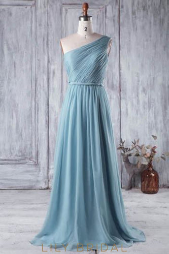 Ruched Chiffon One-Shoulder Sweep Train Bridesmaid Dress in Blue
