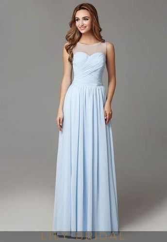 2093d6d541 Ruched Chiffon Sky Blue Pleated Bridesmaid Dress With Sheer Top