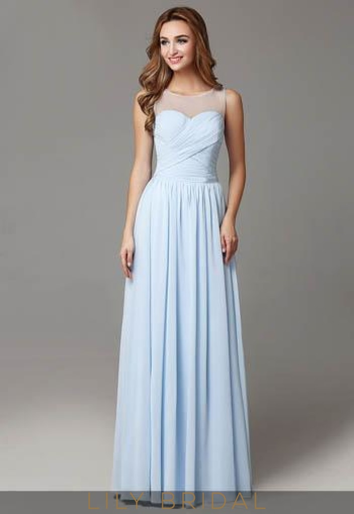 21db70b5c7d Ruched Chiffon Sky Blue Pleated Bridesmaid Dress With Sheer Top ...