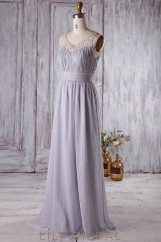 Ruched Chiffon V-Neck Cut Out Back Bridesmaid Dress With Pearls