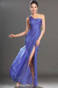 Ruched One-Shoulder Chiffon Bridesmaid Dress With Slit