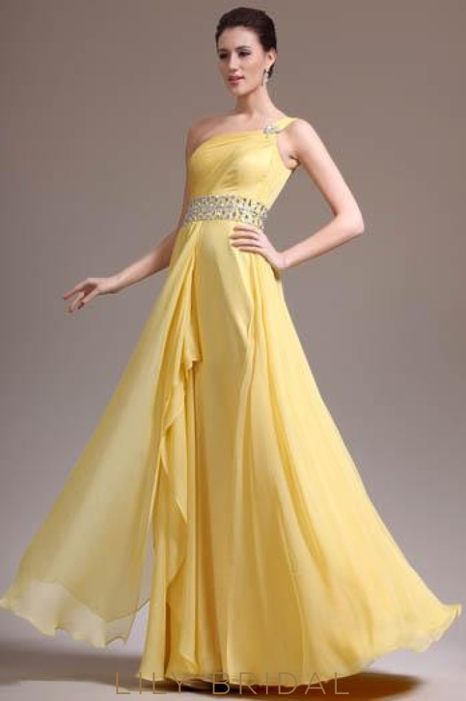 Ruched One-Shoulder Daffodil Chiffon Bridesmaid Dress With Rhinestone