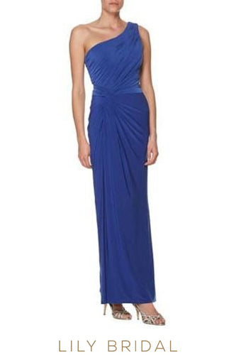Ruched One-Shoulder Floor-Length Bodycon Jersey Bridesmaid Dress