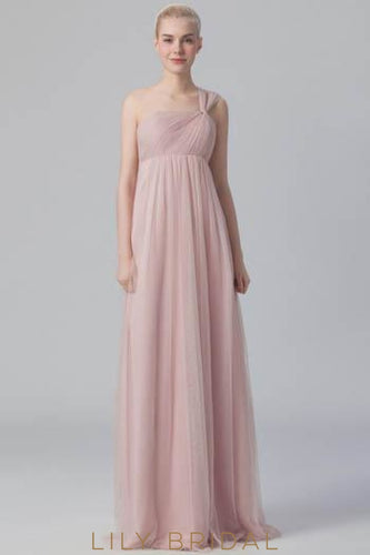 Ruched One-Shoulder Tulle Bridesmaid Dress With Sweep Train