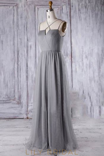 Ruched Strap Tulle Long Bridesmaid Dress With Diamante