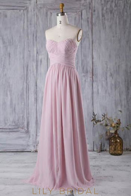 Ruched Strapless Long Chiffon Bridesmaid Dress With Sweetheart Neckline
