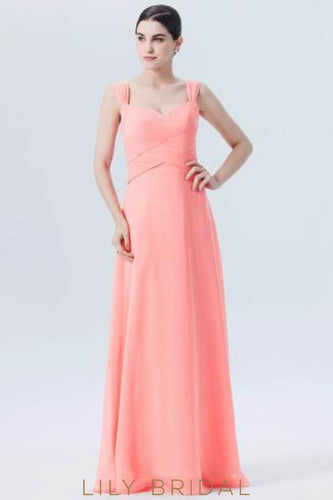 Ruched Sweetheart Strap Empire Waist Long Bridesmaid Dress in Watermelon