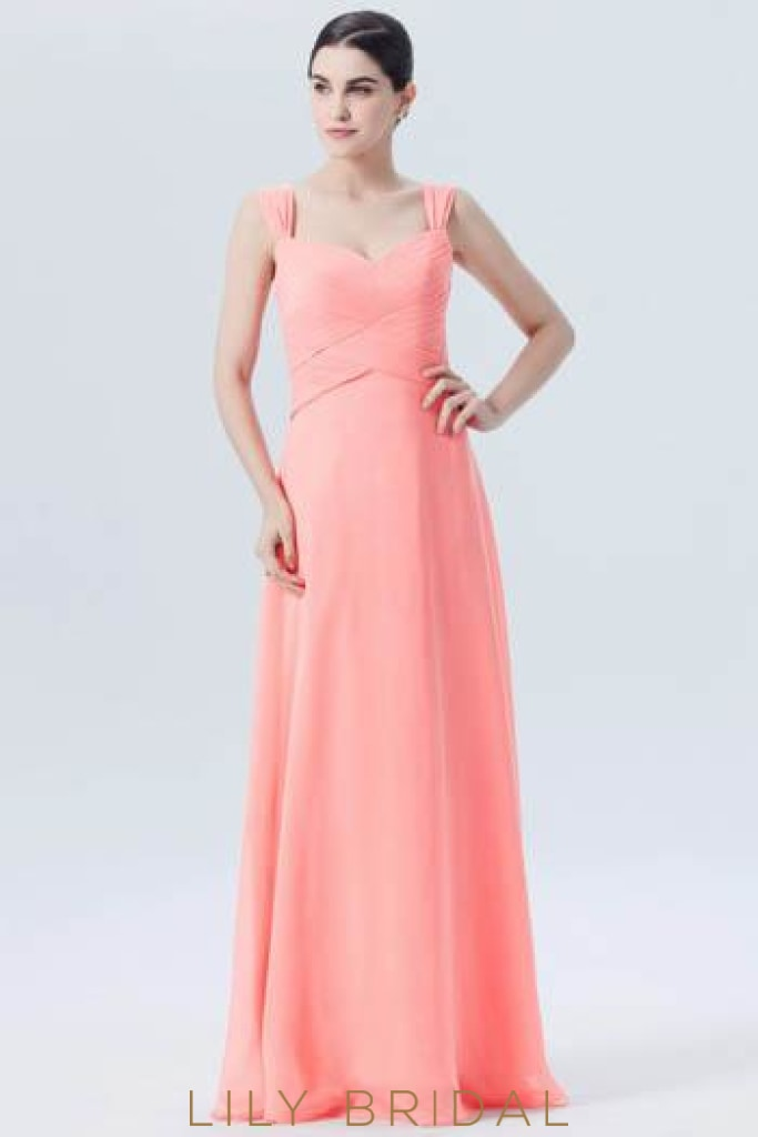 168e7ce77952 Ruched Sweetheart Strap Empire Waist Long Bridesmaid Dress in Watermelon