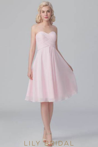 Ruched Sweetheart Strapless Candy Pink Chiffon Short Bridesmaid Dress