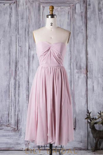 Ruched Sweetheart Strapless Chiffon Short Bridesmaid Dress With Pleats