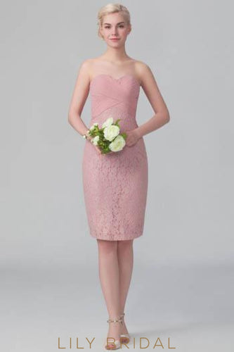 Ruched Sweetheart Strapless Floral Bodycon Lace Short Bridesmaid Dress