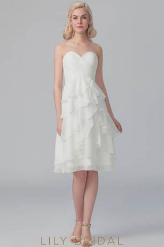 Ruched Sweetheart Strapless Ivory Asymmetrical Chiffon Short Bridesmaid Dress With Layers