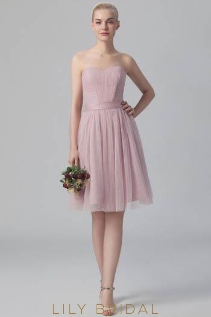 5851602efebd2 Ruched Sweetheart Strapless Tulle Short Bridesmaid Dress With Sash ...