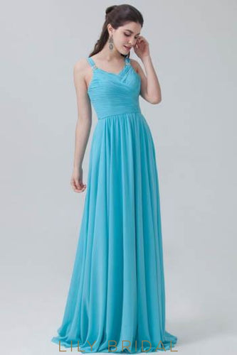 Ruched V-Neck Strap Chiffon Bridesmaid Dress With Pleats