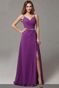 Ruched V-Neck Strap Sweep Train Satin Evening Dress With Side Slit