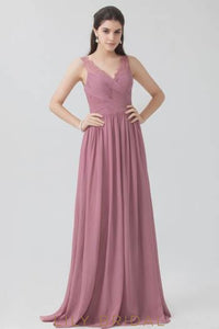 Ruched V-Neck Sweep Train Pleated Chiffon Bridesmaid Dress With Lace