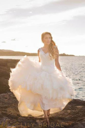 Ruched V-Neck Trumpet Beach Wedding Dress With Tiered Ruffle Skirt