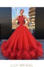 Ruffled Hemline Red Tulle Ball Gown Sleeveless Crew Neckline Prom Dress