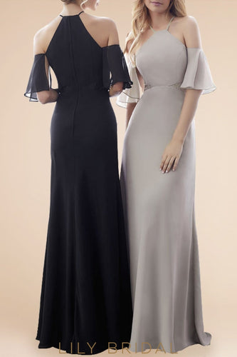 Ruffles Jewel Neck Cold Shoulder Floor-Length Solid Sheath Chiffon Bridesmaid Dress