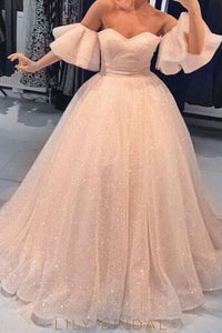 Elegant Ruffles Off Shoulder Short Sleeves Floor-Length Princess Ball Gown Prom Dress