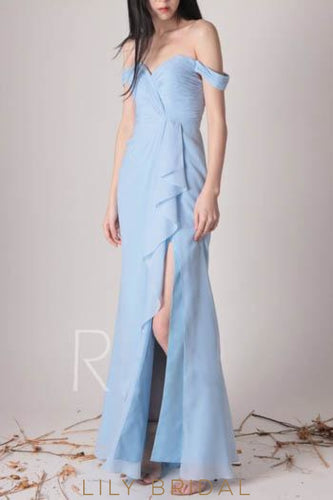 Ruffles Off Shoulder Zipper-Up Floor-Length Solid Slit Sheath Bridesmaid Dress