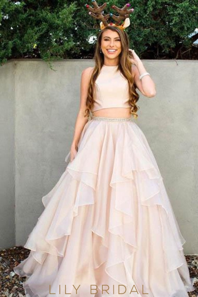 Ruffles Scoop Neck Sleeveless Two Piece Floor-Length Solid Chiffon Wedding Dresses