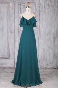 Ruffles Spaghetti Straps Sleeveless Backless Long Solid Sheath Chiffon Bridesmaid Dress