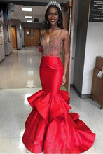 Ruffles Spaghetti Straps Sleeveless Long Solid Mermaid Evening Dress with Sweep Train