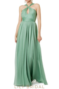 Sleeveless Criss Cross Neckline A-Line Floor-Length Chiffon Bridesmaid Dress With Keyhole