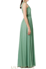 Sleeveless Criss Cross Neckline A-Line Floor-Length Bridesmaid Dress With Keyhole