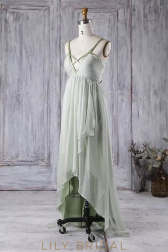 Sage Green Chiffon V-Neck Strap Asymmetrical Bridesmaid Dress