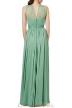 Sleeveless Criss Cross Neckline A-Line Floor-Length Chiffon Bridesmaid Dress