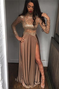Chocolate High Neck Lone Sleeve Split Charmeuse Prom Dress With Illusion Sequinned Bodice