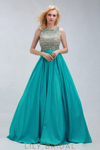 Satin A-Line Jewel Neckline Sleeveless Crystal Beaded Keyhole Back Prom Dress