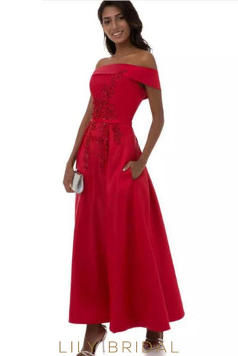 Charmeuse A-Line Off-the-Shoulder Appliqued Ankle-length Prom Dress