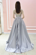 Side Pockets Satin A-Line Prom Dress Sparkling Beads Short Sleeve