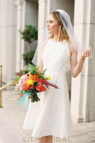 Satin A-Line Short Wedding Dress With Jewel Neck