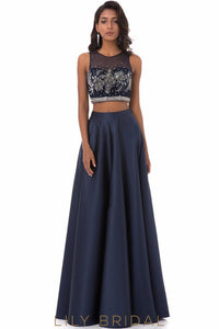 Satin A-line Sleeveless Beaded Long Dark Navy Floor Length Prom Dress