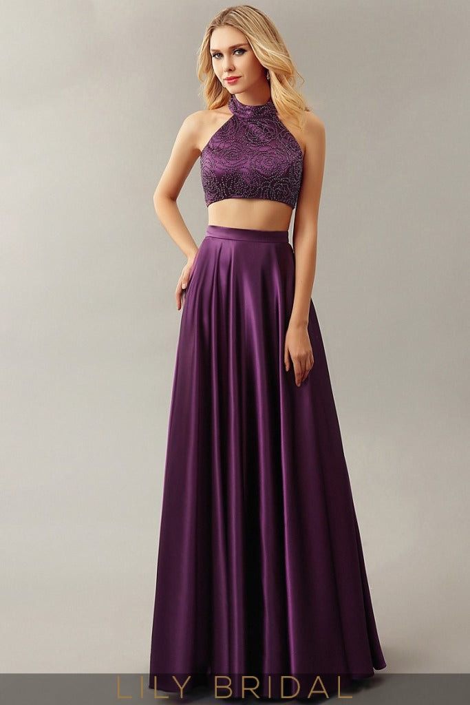 Satin A-line Sleeveless Keyhole Back Floor-Length Prom Dress